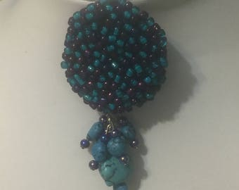 Handmade Purple and Turquoise Beaded Pendant/Brooch/Zipper Pull
