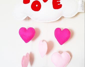 Love cloud, felt white cloud, wall decoration, cloud with hearts