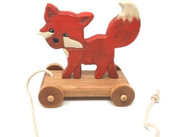 Hand carved Fox Pull Toy-Heirloom-Traditional Pull-Toy- New Vintage Style-Handmade Wooden Children's toy