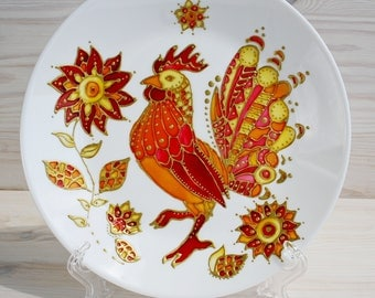 Glass plate Decorative handpainted plate Ukrainian plate with gold rooster Gift plate
