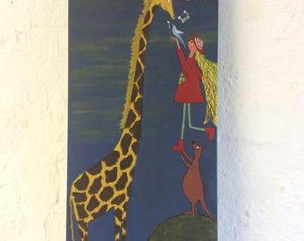 Giraffe and blue bird