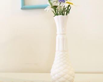 Vintage Pineapple-shaped Milk Glass Bud Vase