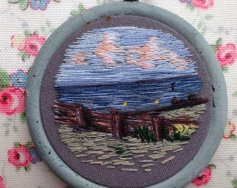 Seascape Hand Embroidered Thread Painting in hoop