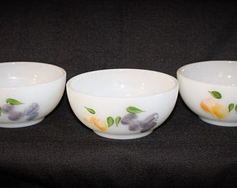 Vintage Fire-King 'Gay Fad' Fruits Set of 3 Chili Bowls