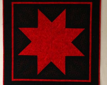 Black and red star quilted wall art/bed runner