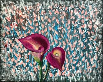 Calla Lilly pink flower modern art painting wall art