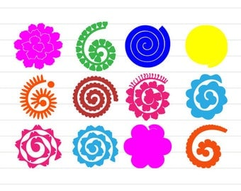 INSTANT DOWNLOAD - Rolled Paper Flower Svg, Rolled Paper Flowers,Rolled Paper Flowers Bundle,Rolled Flowers Svg,Rolled Paper Flower Cut File