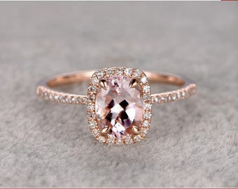 1.35ct Cushion Cut Halo Morganite Engagement Ring 14k Rose Gold Gemstone Promise Bridal Ring For Women
