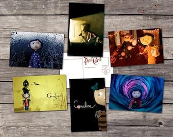 Coraline set 6 postcards | coraline movie poster | neil gaiman art | the other mother button eyes illustration | PaperBunnyShop