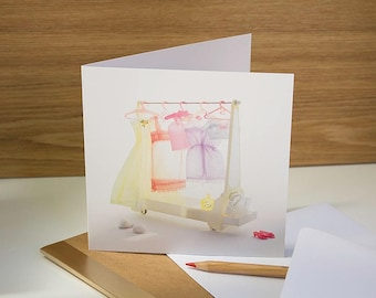 Anniversary card for your girlfriend or wife. Lingerie theme. Romantic and feminine with vintage doll clothes.