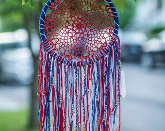 "Red White & Blue Dream Catcher 10"", DreamCatcher, Medium, Wall Hanging, Wall Decor, American Decor, Woven Dream Catcher, July 4th, Crochet"