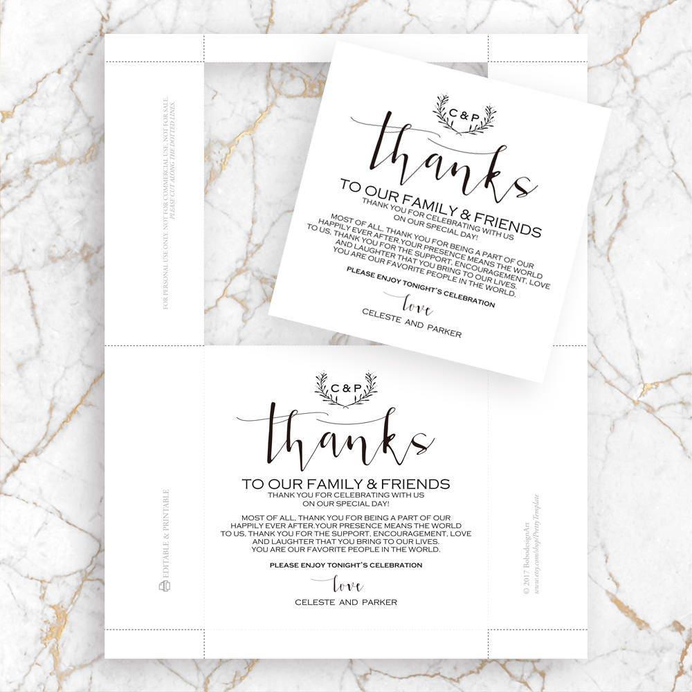 Printable Wedding Thank You Card, Vintage Table Thank You Card ...