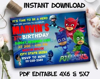 Pj Mask Birthday Party, Pj Masks Birthday Invitation, Pj Masks PDF Editable, Pj Masks Instant Download, Pj Masks Editable, Pj Masks Invite