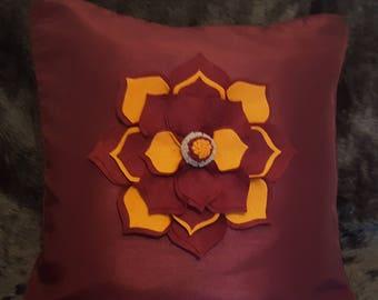 Designer, 3D Burgundy, Mustard Flower Decorative Luxury Cushion Cover