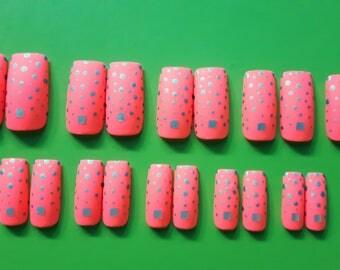 Orange Starlight - Handmade Full Coverage Press-on Nails