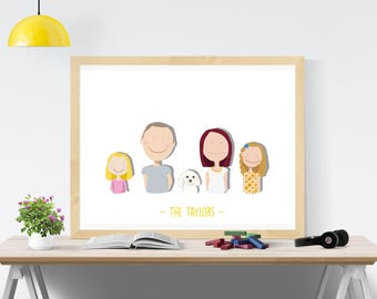 Personalised Family Portrait A3 Print Custom illustration Family Gift Home Gift Mothers Day Gift Large Family Print Family Art