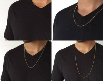 Mens Gold Chain Mens Gold filled Necklace 14K Gold Chain for Him Mens Gift Guy Gift Mens Necklace Gift Husband Gift Brother Thick chain Men