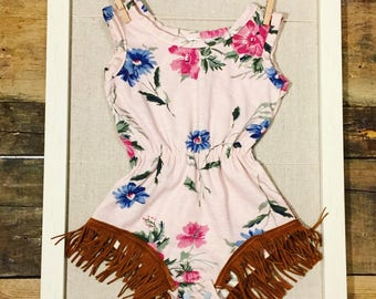 Girls clothing- baby girl- rompers- boho baby- vintage floral