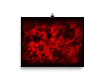 Red mist original unique watercolor painting enhanced matte paper poster art print