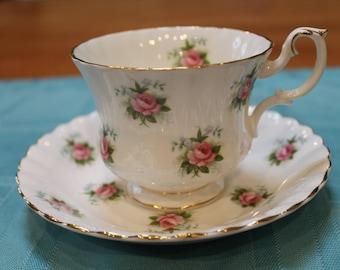 "Royal Albert ""Forget Me Not Rose"" Bone China Tea Cup and Saucer Duo"