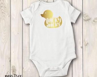 Lucky Ducky - baby bodysuit - gold vinyl