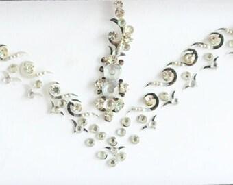 Silver Bridal Bindi Stickers,Wedding Long Bindis,Forehead Silver Bindis,India Bindi,Bollywood Bindi, Long Bindis, Self Adhesive Stickers