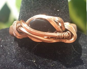 Wire Wrapped Copper Ring - Size 8 - Black Gemstone