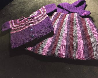 light and dark hand made baby girl knitwear sweater and dress