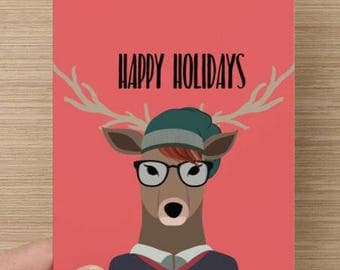 Hipster Reindeer Holiday Card | Christmas | hipsters | Greeting Cards | Reindeer with glasses