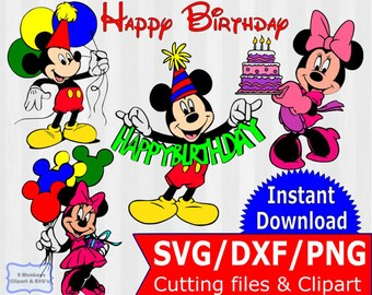 Mickey and Minnie Birthday bundle, SVG Files & Clipart, Mickey Mouse birthday, Minnie mouse birthday, birthday svg, disney svg,vector,cricut