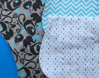 Blue and Grey Burp Clothes Set of 3