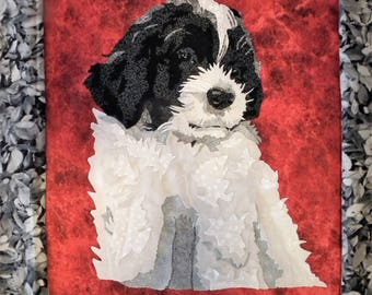 Quilted dog portrait