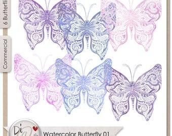 Watercolor Butterflies 01, Transparent PNG , PNG Elements, Digital Scrapbook | Clipart | Printable Designers Resources