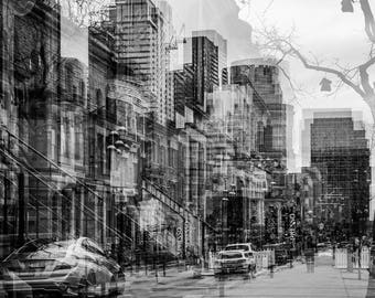 urban landscape 10 - photography, Montreal crescent street, black and white, multi-exposure