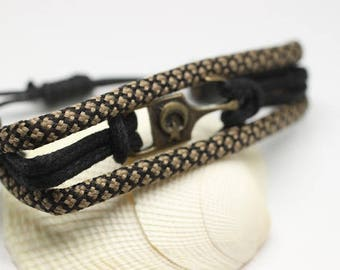 D'ancrage de la corde bracelet corde bracelet - Bracelet en daim - trois Bracelet - Bracelet hommes - Femmes Bracelet -