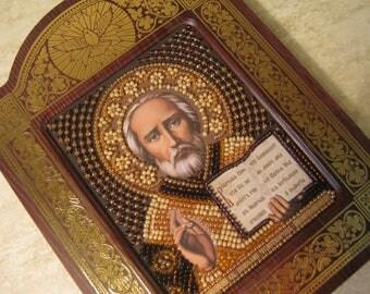 Orthodox icon Nicholas Wonderworker Religious icon St.Nicholas Beadwork Beaded icon Hand embroidery Beading set Embroidery of beads Beads
