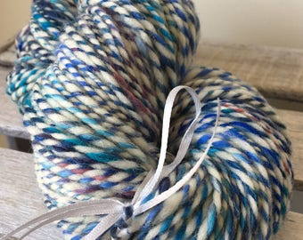 Hand spun wool, summer blues
