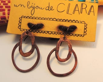 Original recycled copper earrings