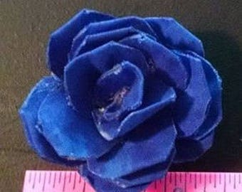 Mini Fabric Rose Magnet #3 Dark Blue Fabric