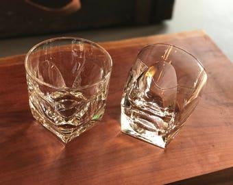 8 retro old fashioned glasses / 60's - 70's rocks glass set / whiskey barware / mixology