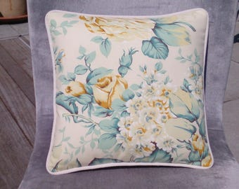 Cushion, Floral Pattern, Square Cushion, Pattern Mix, Yellows, Greens, Floral