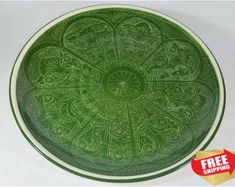 Clay plates, clay pottery, large platter, ceramic platter, decorative plates, dinner plates, ceramic plates, Uzbekistan plate,handmade plate