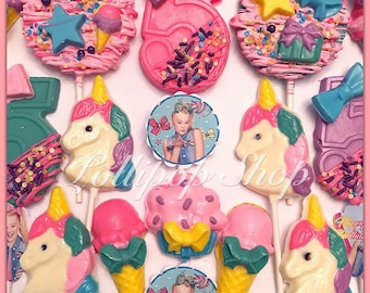 12 JoJo Siwa inspired solid chocolate lollipops (JoJo Siwa party favors, birthday, party, candy table, dessert, unicorn, thank you, sweet)