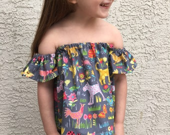 Off The Shoulder Toddler Baby Shirt // Toddler Crop Top // Baby Crop Top // Boho Baby // Peasant Top //Tube Top // Baby Animals