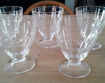 Set of 5 vintage cut glass glasses
