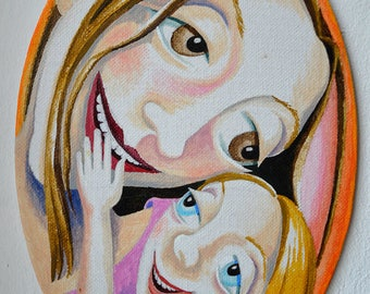 Mother joy, mother and daughter, orange, oval, mothering art