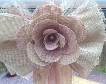 Large hessian and lace church pew end bows, wedding venue, marque decor,