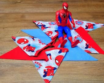 Spiderman Super Hero Party Fabric Bunting, Boys Birthday Party Bunting, Boys Room Decor, Superhero Bunting Banner Black Bunting