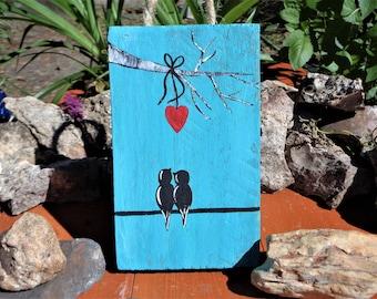 Love Birds Sitting together - Mini Wall Art / Ornament