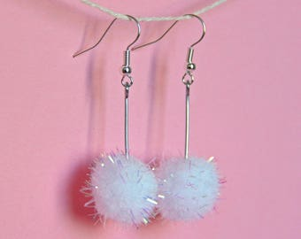 White holographic glitter dangle pom pom earrings , long earrings , mixed media jewellery , drop earrings ,  made by the zadie store